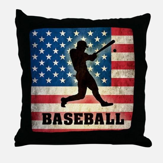 Grunge Baseball Throw Pillow