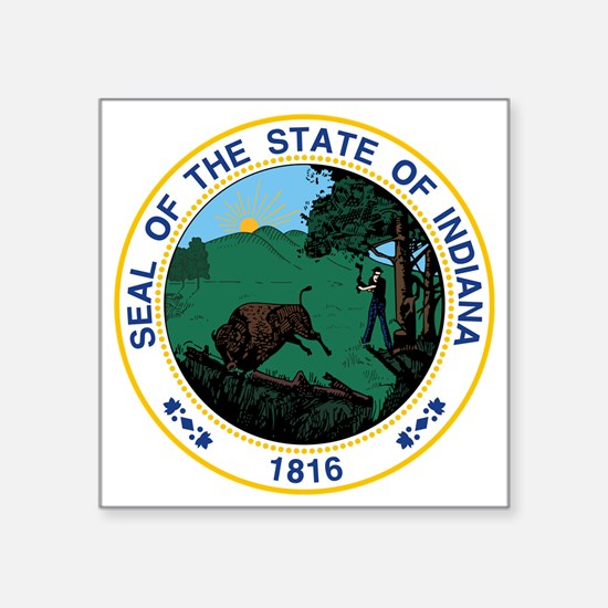 "Indiana State Seal Square Sticker 3"" x 3"""