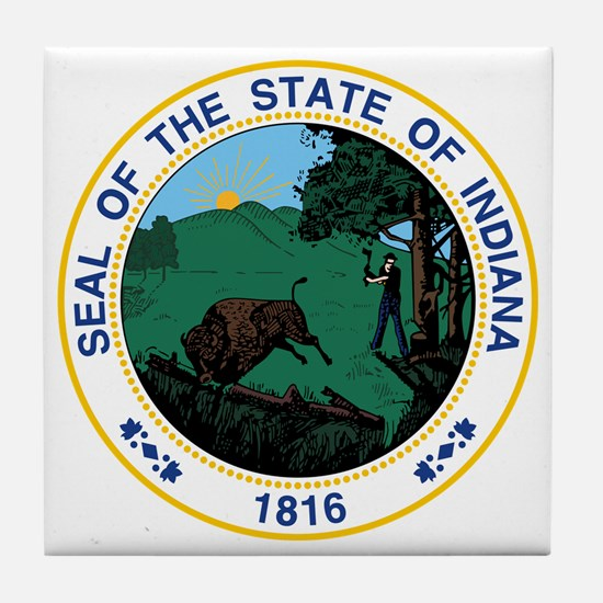 Indiana State Seal Tile Coaster