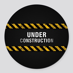 Construction Zone Round Car Magnet