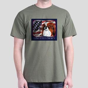 Japanese Chin Red USA Flag Dark Colored T-Shirt