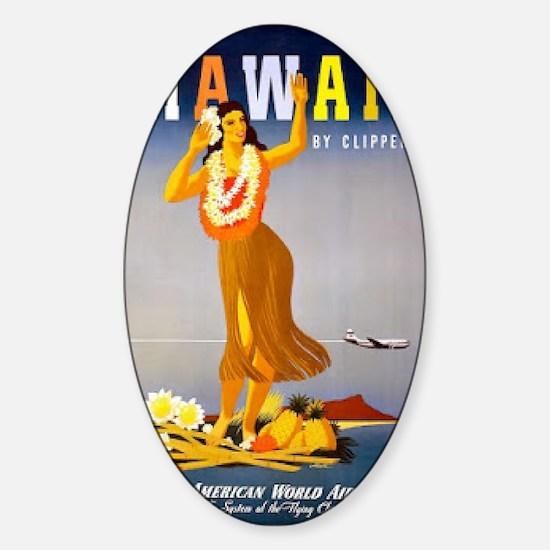 Vintage Chick Hawaii Sticker (Oval)