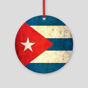 Grunge Cuba Flag Round Ornament