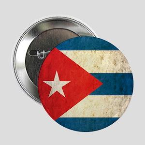 """Grunge Cuba Flag 2.25"""" Button"""