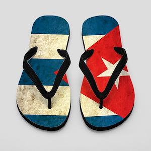 Grunge Cuba Flag Flip Flops