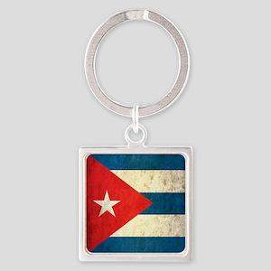 Grunge Cuba Flag Square Keychain