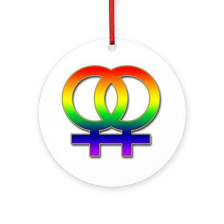 Double Women's Symbol Ornament (Round)