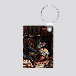 Vintage Chick Girl With Qu Aluminum Photo Keychain