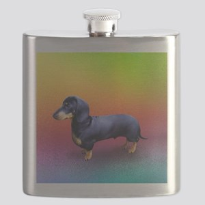 Mini Dachshund Black with Gold Markings Flask