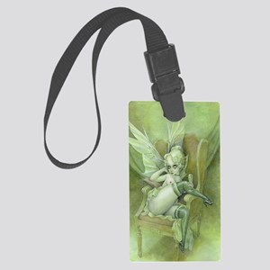 Vintage Chick Sexy green Fairy Large Luggage Tag