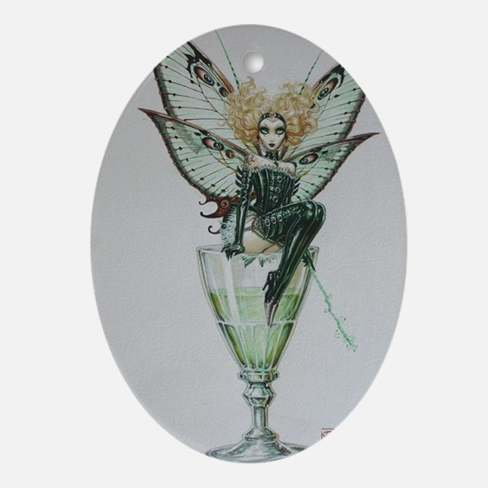 Vintage Chick Green Fairy  Absinthe  Oval Ornament