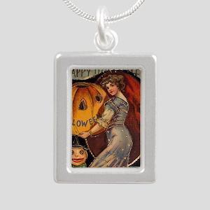 Vintage Halloween Card s Silver Portrait Necklace