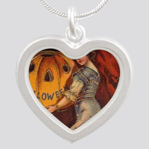 Vintage Halloween Card sq Silver Heart Necklace
