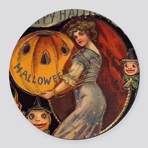 Vintage Halloween Card sq Round Car Magnet