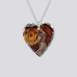 Vintage Halloween Card sq Necklace Heart Charm