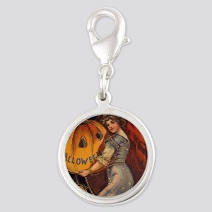 Vintage Halloween Card sq Silver Round Charm