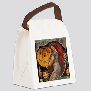 Vintage Halloween Card sq Canvas Lunch Bag