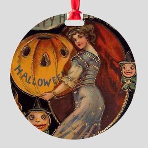 Vintage Halloween Card sq Round Ornament