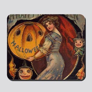 Vintage Halloween Card sq Mousepad