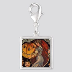 Vintage Halloween Card sq Silver Square Charm