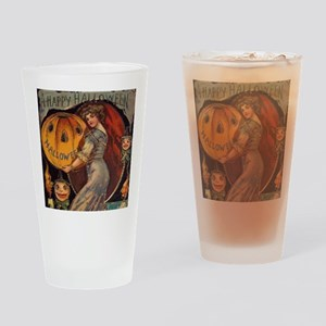 Vintage Halloween Card sq Drinking Glass