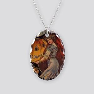 Vintage Halloween Card sq Necklace Oval Charm