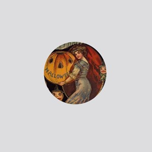 Vintage Halloween Card sq Mini Button