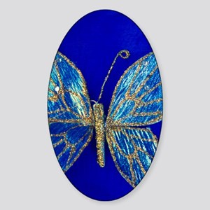 Glitter Butterfly Sticker (Oval)
