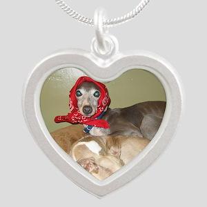Italian greyhounds  Silver Heart Necklace
