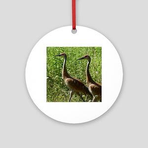 Sandhill Cranes Round Ornament