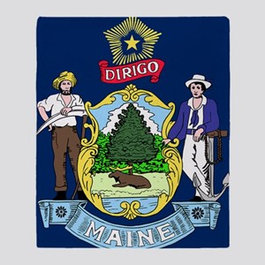 Maine State Flag Throw Blanket