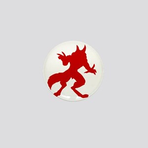 Red Werewolf Silhouette Mini Button