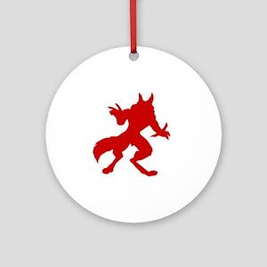 Red Werewolf Silhouette Round Ornament
