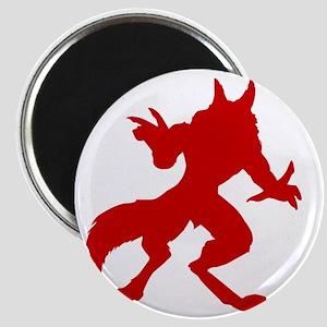Red Werewolf Silhouette Magnet