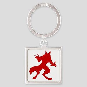 Red Werewolf Silhouette Square Keychain
