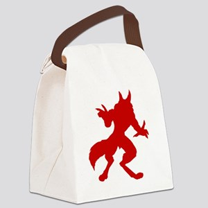 Red Werewolf Silhouette Canvas Lunch Bag