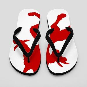 Red Werewolf Silhouette Flip Flops