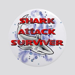 MT - Shark Attack Surviver - FINAL Round Ornament