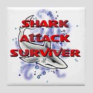 MT - Shark Attack Surviver - FINAL Tile Coaster
