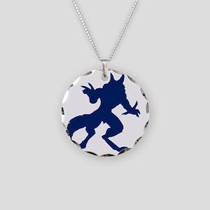 Dark Blue Werewolf Necklace Circle Charm