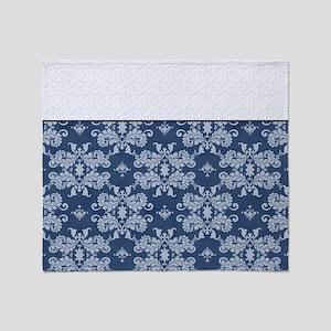 Blue Damask Throw Blanket