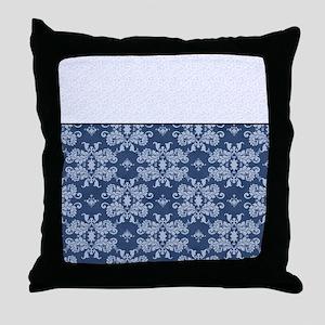 Blue Damask Throw Pillow