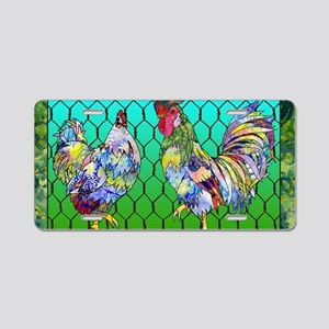 rooster  hen Aluminum License Plate