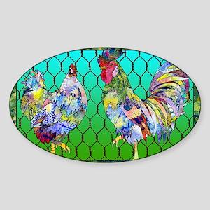 rooster  hen Sticker (Oval)