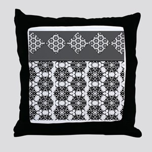 Black and White Flowers Throw Pillow