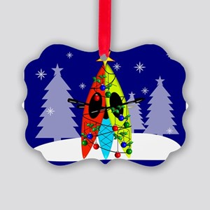 Kayaking Christmas Card Gails Picture Ornament