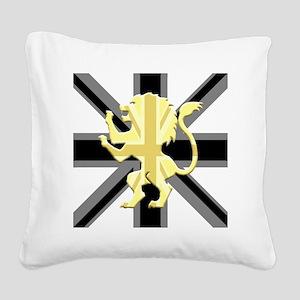 Black Union Jack Lion Rampant Square Canvas Pillow