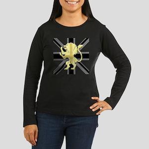 Black Union Jack  Women's Long Sleeve Dark T-Shirt