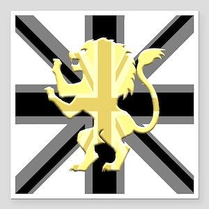 "Black Union Jack Lion Ra Square Car Magnet 3"" x 3"""