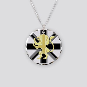 Black Union Jack Lion Rampan Necklace Circle Charm